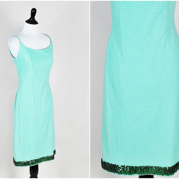 aqua mint green knit strappy bodycon emerald sequin trim cocktail dress vintage 1960s