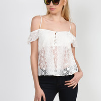 Cold Shoulder Lace Overlay Cami