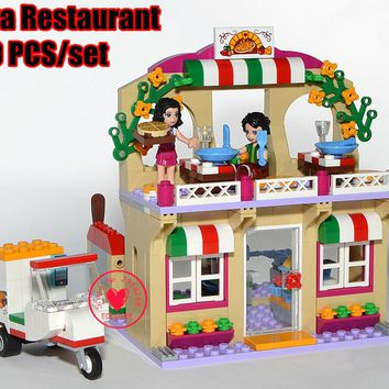 New Girl Friends Heartlake Pizza Restaurant model Building block bricks Toys child 41311 Compatible legoes friends kid gift set