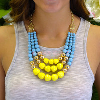 Clementine Yellow Layered Bead Necklace