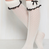 Flirty Tricks Thigh Highs in Ivory | Mod Retro Vintage Socks | ModCloth.com