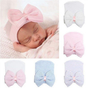 67f6aa3de47 Cute Newborn Baby Infant Girl Toddler Comfy Bowknot Hospital Cap