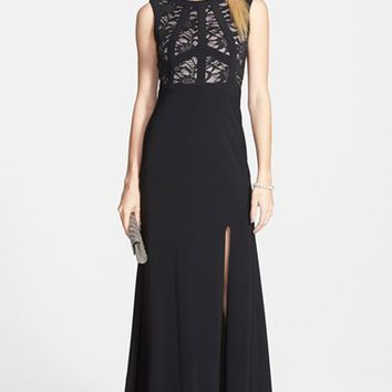 Junior Women's Morgan & Co. Lace Bodice Gown