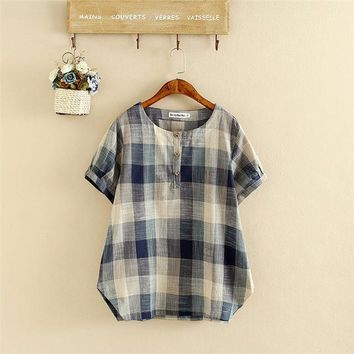 Tops and Tees T-Shirt Plus Size Clothing Women Summer T-shirt  Tees Short Sleeve Cotton and Linen Blend Maxi Plaid Shirts Female T Shirt 4XL AT_60_4 AT_60_4