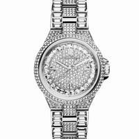 Mini Silver Color Stainless Steel Camille Three-Hand Glitz Watch - Michael Kors - Silver