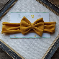 Mustard Jersey Knit Bow Headband - by Gracie and Me