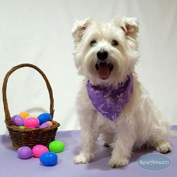 Purple Easter Bunny Spring Dog Bandana