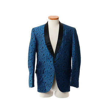 Vintage 60s Mens Blue Rose Brocade Tuxedo Jacket 1960s Satin Shawl Collar Damask Smoking Rat Pack Lounge Dinner Jacket / size 37