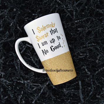 Glitter Mug / Glitter Dipped Mug / Personalized Mug / Coffee Cup / Coffee Mug -  I solemnly swear that I am up to no good Mug.