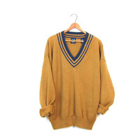 90s Golden Rod Yellow Ochre Sweater Cotton Preppy Pullover VNeck Knit Top Jumper College Prep Sweater Womens Unisex Mens Medium Large