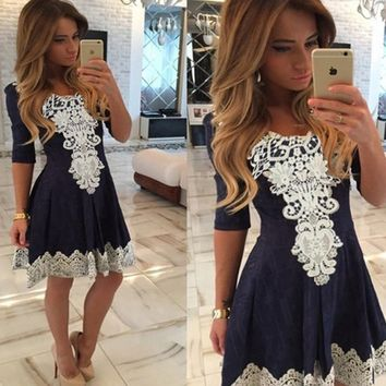 Fashion Sexy Lace Up V-neck A-line Solid Dress Lace Vestidos for Women