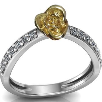 Contour Rose Flower Ring Yellow Rose Unique Engagement Ring 18K Gold Flower Ring Diamond Ring Art Nouveau Floral ring For Her
