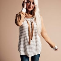 Just Wanna Live Stripe and Cowl Neck Top