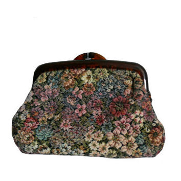 Vintage Tapestry Clutch Purse Floral Print - Tibor Handbags of California - Amber Lucite Frame