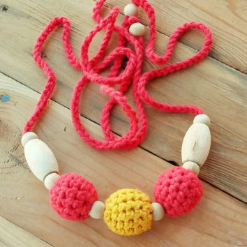 Crochet Breastfeeding Necklace Made with Natural Wooden Beads and 100 % Cotton- Red and Mustard Women's