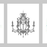 Chandelier Silhouette Series - Set of three 8x10s - Perfect for Modern Nursery or Dining Room - Available in any colors