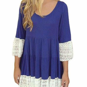 Bohemian Lace Trim Royal Blue Swing Mini Dress