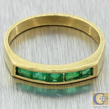Vintage Estate Solid 18k Yellow Gold .50ctw Baguette Green Emerald Band Ring