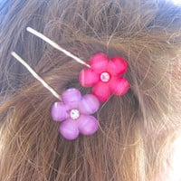 Flower Bobby Pins, Flower Hair Accessories, Hair Accessories, Easter Basket Items, Party Favors, Girls Party Favors,