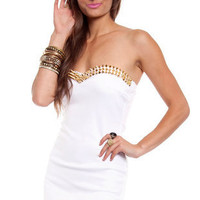 Sonic Spiked Dress in White and Gold :: tobi