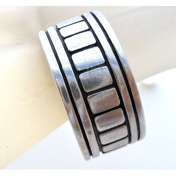 Wide Sterling Silver Band Ring Vintage Size 11