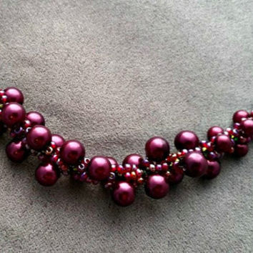 Cherry spiral necklace, Burgundy Pearl necklace, Burgundy necklace, Spiral rope necklace