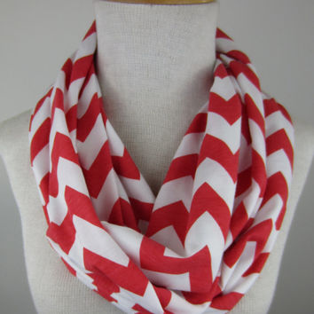 Chevron Infinity Scarf - Coral and White Chevron Scarf - Extra Long Jersey Scarf