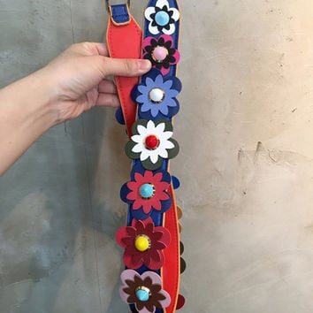 Leather Strap with Flowers Flower Leather Strap Strap You