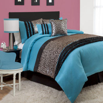 Lush Decor Kenya Black/Blue Comforter Set | Overstock.com