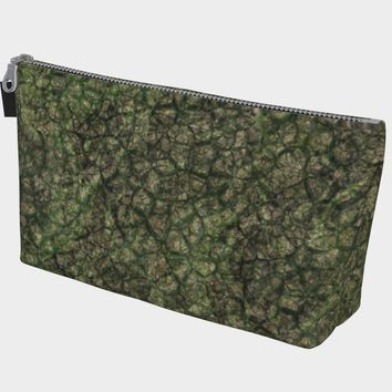 Makeup Bag with Vegan Leather Tab Earth Scale Print