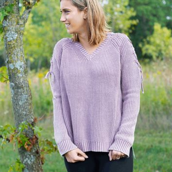 Mineral Wash Lace Up Sleeve Sweater - Mauve