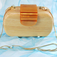 Women wood clutch bag purse handbag evening bag