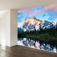 Paul Moore's Mt Shuckson Reflected In Picture Lake, WA Mural wall decal