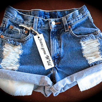 High waist destroyed denim shorts  size XS/S/M/L/XL/XXL