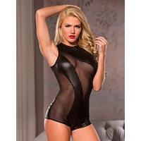 Mesh And Vinyl Cutout Bodysuit