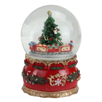 "6"" Musical Christmas tree and train animated Water Globe Table Top Decoration"