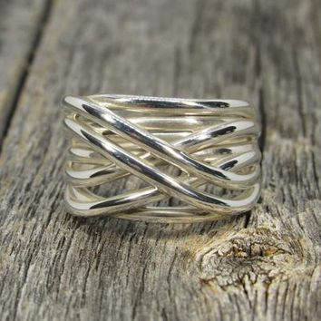 999 Fine Silver CrissCross Ring, Criss Cross Ring, Infinity Ring, Elegant, Luxurious, Chic, Fashion, 3D Printed