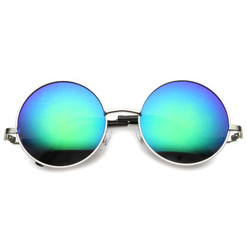 Women's Retro Low Temple Round Mirrored Lens Sunglasses 9980