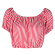 Red and White Stripe Off-Shoulder Crop Top
