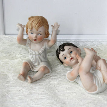 Pair of Vintage Bisque Piano Babies Figurines , Boy and Girl Babies , Baby's Room , Baby Nursery Decoration