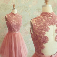 Gorgeous A-line High neck Lace Applique Tulle Homecoming Dress