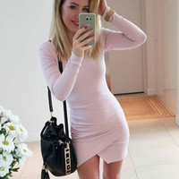 Hot Sale Round-neck Long Sleeve Skirt Irregular One Piece Dress [11617431055]