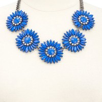 FACETED FLOWER BIB NECKLACE
