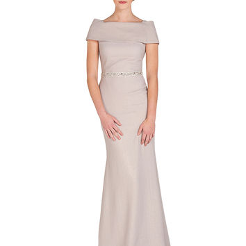 EG1491 Band-Top Pebble Crepe Evening Gown by Badgley Mischka