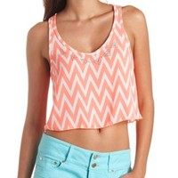 Embellished Chevron Swing Crop Top by Charlotte Russe