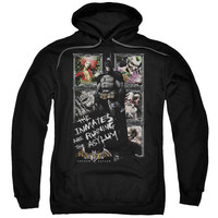 BATMAN AA/RUNNING THE ASYLUM-ADULT PULL-OVER HOODIE-BLACK