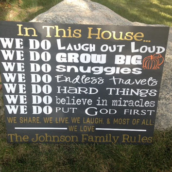Personalized Wooden Family House Rules Sign large 25x20""