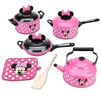 Disney Store Minnie Mouse Clubhouse Kitchen 9 Piece Cooking Accessories Pots an.