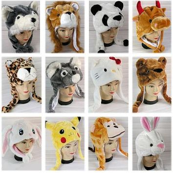 New Cartoon Animal Hat Winter Hat Costume Hat Ear Warm Cap Earmuff  Gift Unisex