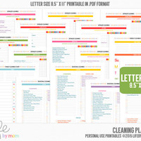 CLEANING PLANNER 8.5 x 11 Letter size A4, 3 Ring Binders, Arc Notebooks, Discbound Inserts